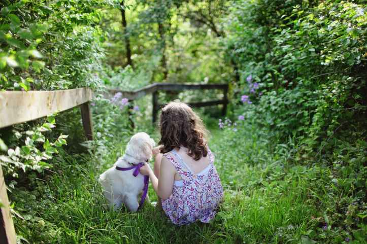 girl and puppy sitting on green grass surrounded with shrubs during daytime