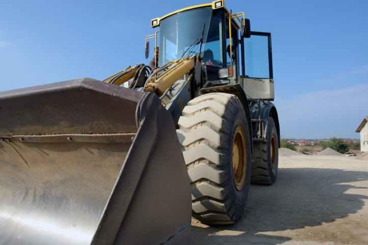 big bulldozer clear sky construction