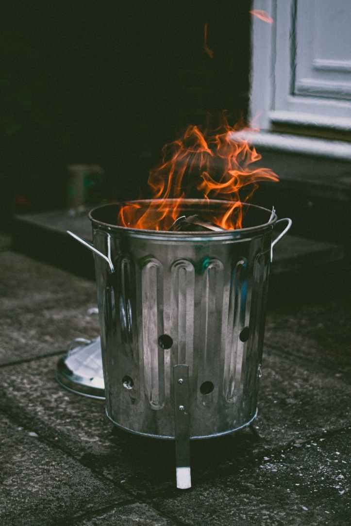 stainless steel can with fire